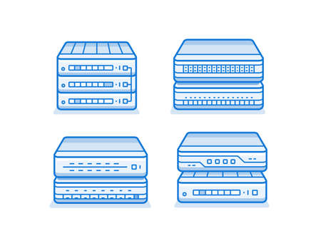 service provider: Network router icon set. Internet service provider equipment. Data network hardware series vector illustration