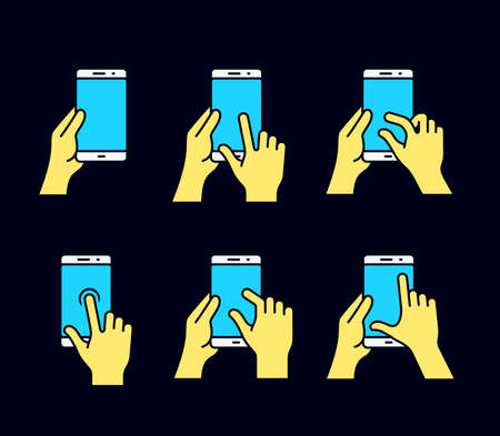 nudge: Touch screen gestures icon for smartphone. Vector icon for a mobile app user interface or manual. Smartphone gesture icon in four different styles