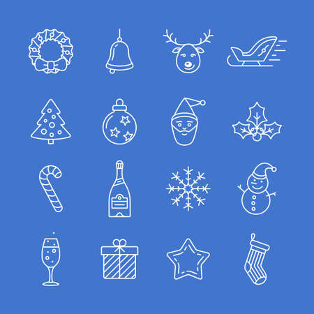 hubcap: Christmas icon set. Thin line style christmas  icons. Linear style Illustration