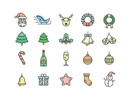 hubcap: Christmas icon set. Thin line style christmas vector icons. Linear style Illustration