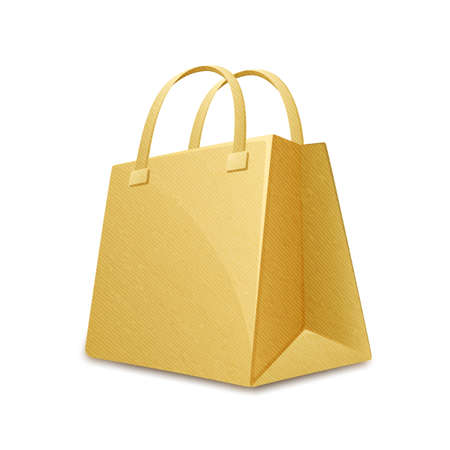 shopping bag vector: Brown color cardboard paper shopping bag. Paper shopping bag. Vector illustration