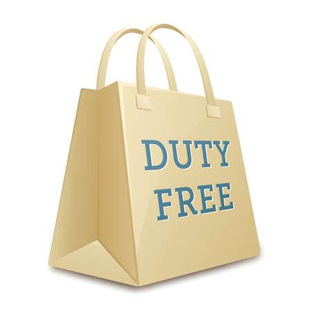on duty: Duty free shopping bag.  illustration Stock Photo