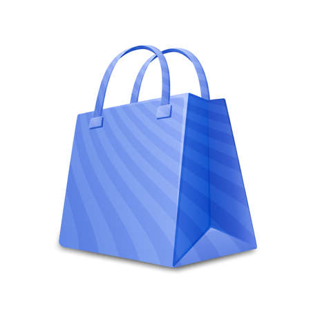 gift bags: Blue sripped shopping bag. Paper shopping bag vector icon. Vector illustration