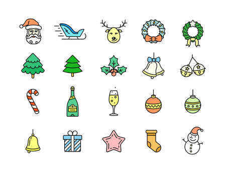 hubcap: Christmas linear icon set. Thin line style christmas vector icons. Linear style
