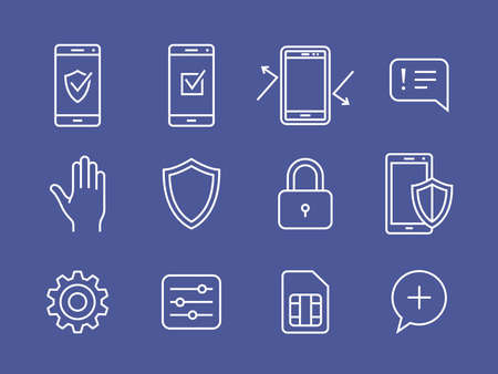 mobile cellular: Mobile devices security icons