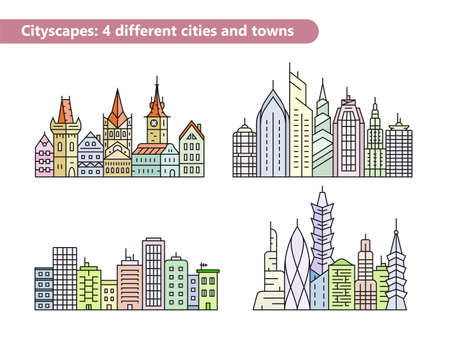 urban building: Linear vector cityscape illustrations. Urban city and old town skyline and buildings. Building vector line icons