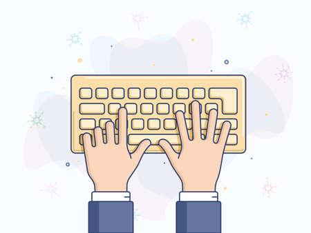 computer keyboard: Hands at computer keyboard vector illustration
