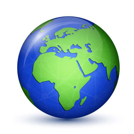 earth globe: World globe icon. Africa and Europe. Earth planet. Global communication concept. Vector illustration Illustration