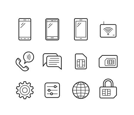 mobile cellular: Mobile network operator or wireless service provider icons. Vector icons for cellular company