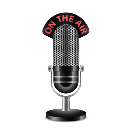 Retro radio microphone with On the Air caption. Highly detailed vector microphone icon Çizim