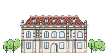 immovable property: French chateau vector illustration. Architecture of medieval building