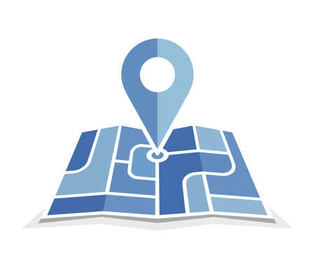 Blue map and pin icon. Vector icon for contact web page. Map with pin symbol. Navigation and route concept illustration Illustration