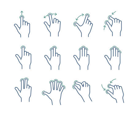flick: Gesture touch icons for a mobile application manual. User interface gesture icon set