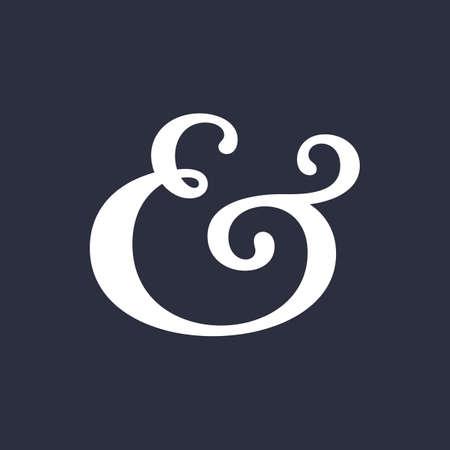 Elegant and stylish custom ampersand. Decoration ampersand for custom invitation. Vector illustration