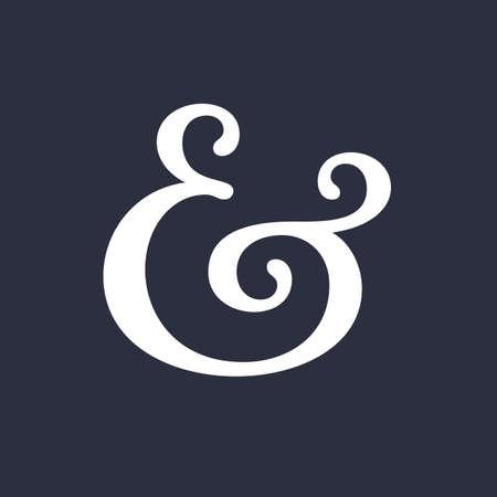 orthographic symbol: Elegant and stylish custom ampersand. Decoration ampersand for custom invitation. Vector illustration