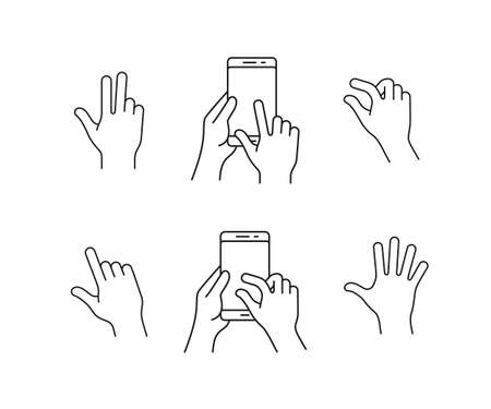 flick: Gesture touch icons. Clean and simple vector icons for a mobile application. User interface or manual gesture icon set