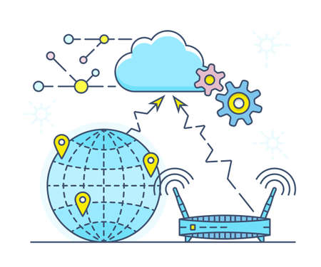 online service: Cloud service concept vector illustration. Create your own personal Cloud service with online document editing, calendar and contact synchronization. Vector illustration Illustration