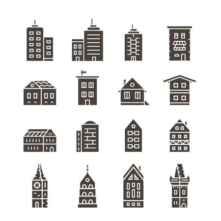 house building: City building vector icon set. Building icons. Collection of home and house icons Illustration