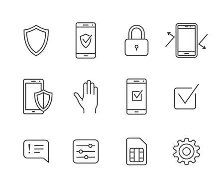 communication: Mobile security icons. Vector icon set for mobile security applicaton