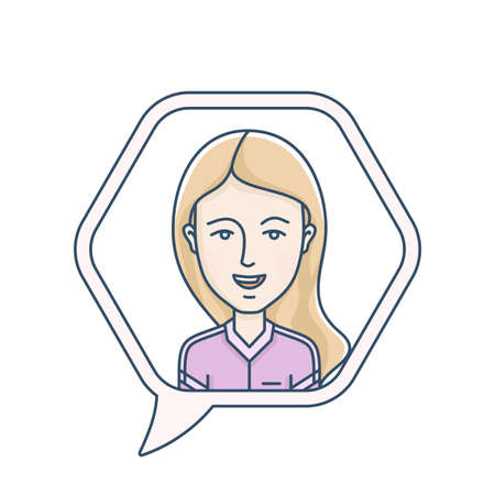 chat icon: Chat bubble with avatar symbol. Vector icon of chat communication symbol. Vector illustration of call center operator