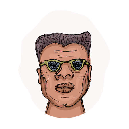 African-American man in glasses with a harsh face expression. Cartoon vector avatar. Vector hand-drawn illustration of man