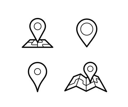 Maps and pins vector icons. Make your own custom location pin icon. Map with pin symbol. Navigation and route concept illustration. Vector icon for contact web page