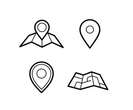 directions icon: Maps and pins vector icons. Make your own custom location pin icon. Map with pin symbol. Navigation and route concept illustration. Vector icon for contact web page