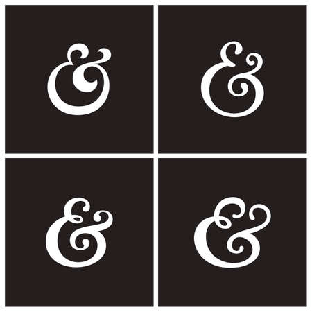 letterpress type: Collection of elegant and stylish custom ampersand. Decoration ampersands for custom invitation. Vector illustration Illustration
