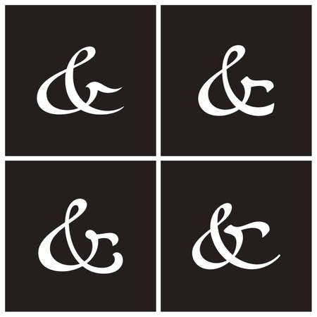 custom letters: Collection of elegant and stylish custom ampersand. Decoration ampersands for custom invitation. Vector illustration Illustration