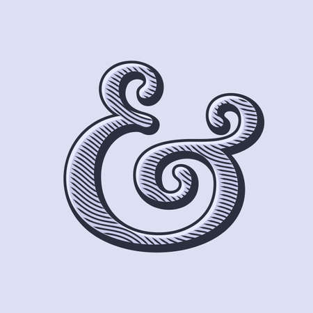 ligature: Ampersand symbol with natural wood texture. Linocut print stylized vector illustration. Elegant and stylish custom vector ampersand for wedding invitation or other print. Illustration