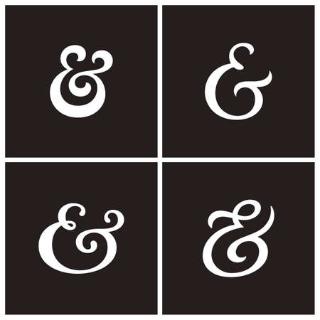 ligature: Collection of elegant and stylish custom ampersand. Decoration ampersands for custom invitation. Vector illustration Illustration