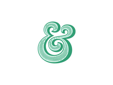 Ampersand symbol with natural wood texture. Linocut print stylized vector illustration. Elegant and stylish custom vector ampersand for wedding invitation or other print. Illustration