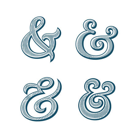 custom letters: Ampersand collection. Decoration ampersands with natural wood texture. Linocut print stylized vector illustration. Elegant and stylish custom vector ampersands for wedding invitation or other print.