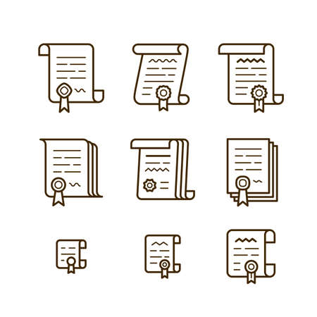 Nine Different Contract Line Icons Icon Set Of Pact Or Convention