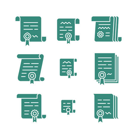 convention: Nine different contract solid icons. Vector agreement symbols. Icon set of pact or convention