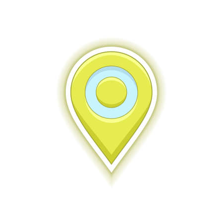 icon: Yellow vector pin symbol. Map location pin icon. Vector icon for address and contact web page
