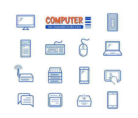 Network and mobile devices connected to the Internet. Non-expanded strokes vector icons. Linear style Illustration