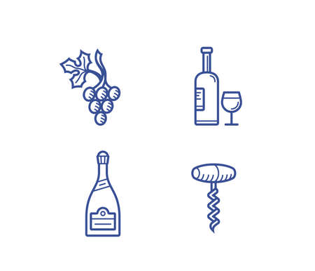 spirituous beverages: Wine illustration and icon set. Illustration