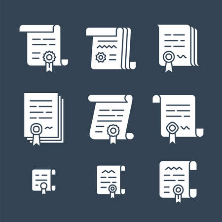convention: Contract vector icons. Legal documents icon set and business agreement symbols. Vector illustration