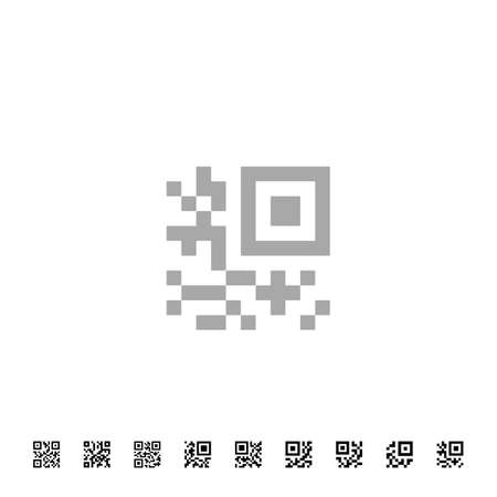 Simplified QR code icons. Vector QR code sample for smartphone scanning. Vector illustration