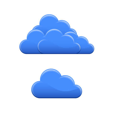 Blue glossy cloud icon. Cloud hosting vector illustration
