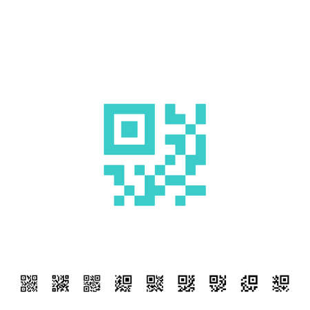 Icon for QR scanning application. Vector simplified QR code sample for smartphone scanning. Vector illustration