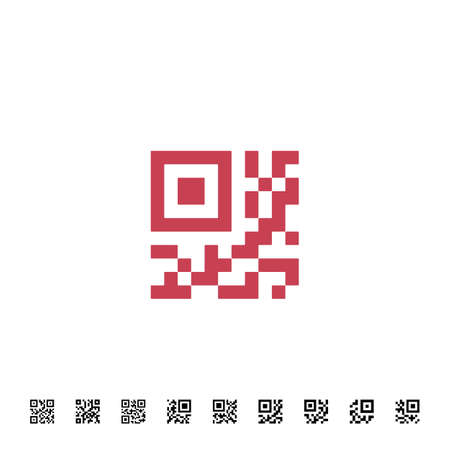 qrcode: Icon for QR scanning application. Vector simplified QR code sample for smartphone scanning. Vector illustration