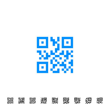 qrcode: QR scanning application icons. Vector simplified QR code sample for smartphone scanning. Vector illustration Illustration