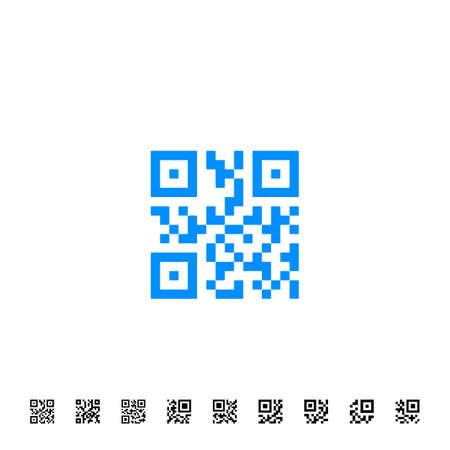 QR scanning application icons. Vector simplified QR code sample for smartphone scanning. Vector illustration Illustration
