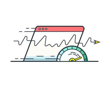 Webbrowser met snelheidsmeter testen Snelheid van de internetverbinding. Website snelheid laadtijd vector icoon