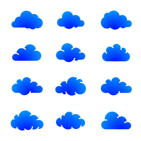 Blue cloud icons on white vector illustration