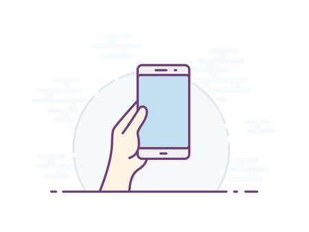 Leere Smartphone-Bildschirm für Ihr Symbol. Vektorsymbol für eine Benutzeroberfläche oder eine Bedienungsanleitung für eine mobile App. Hand hält Smartphone. Vektor-Illustration Standard-Bild - 85197528