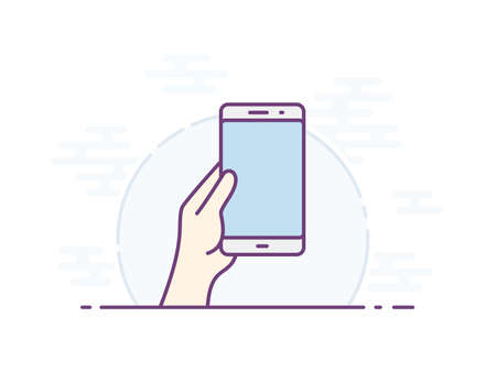 Empty smartphone screen for your icon. Vector icon for a mobile app user interface or manual. Hand holding smartphone. Vector illustration