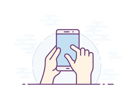 Touch screen zoom gesture icon for smartphone. Vector icon for a mobile app user interface or manual. Smartphone screen with gesture. Hand holding smartphone, finger touching screen. Vector illustration Çizim